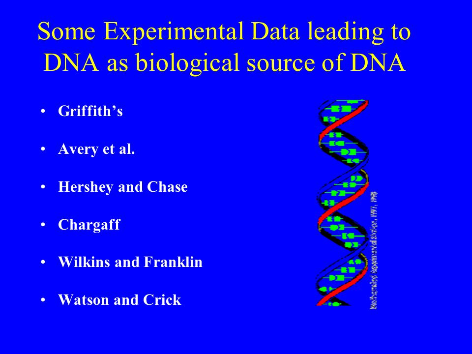 Some Experimental Data leading to DNA as biological source of DNA Griffith's Avery et al.
