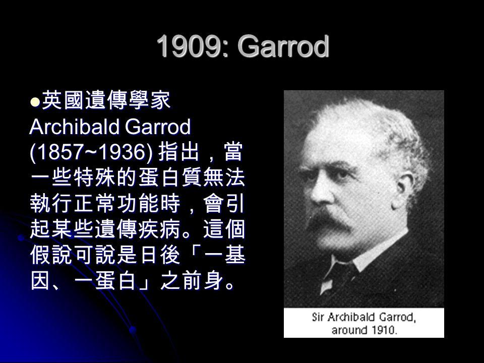 1909: Garrod 英國遺傳學家 Archibald Garrod (1857~1936) 指出,當 一些特殊的蛋白質無法 執行正常功能時,會引 起某些遺傳疾病。這個 假說可說是日後「一基 因、一蛋白」之前身。 英國遺傳學家 Archibald Garrod (1857~1936) 指出,當 一些特殊的蛋白質無法 執行正常功能時,會引 起某些遺傳疾病。這個 假說可說是日後「一基 因、一蛋白」之前身。
