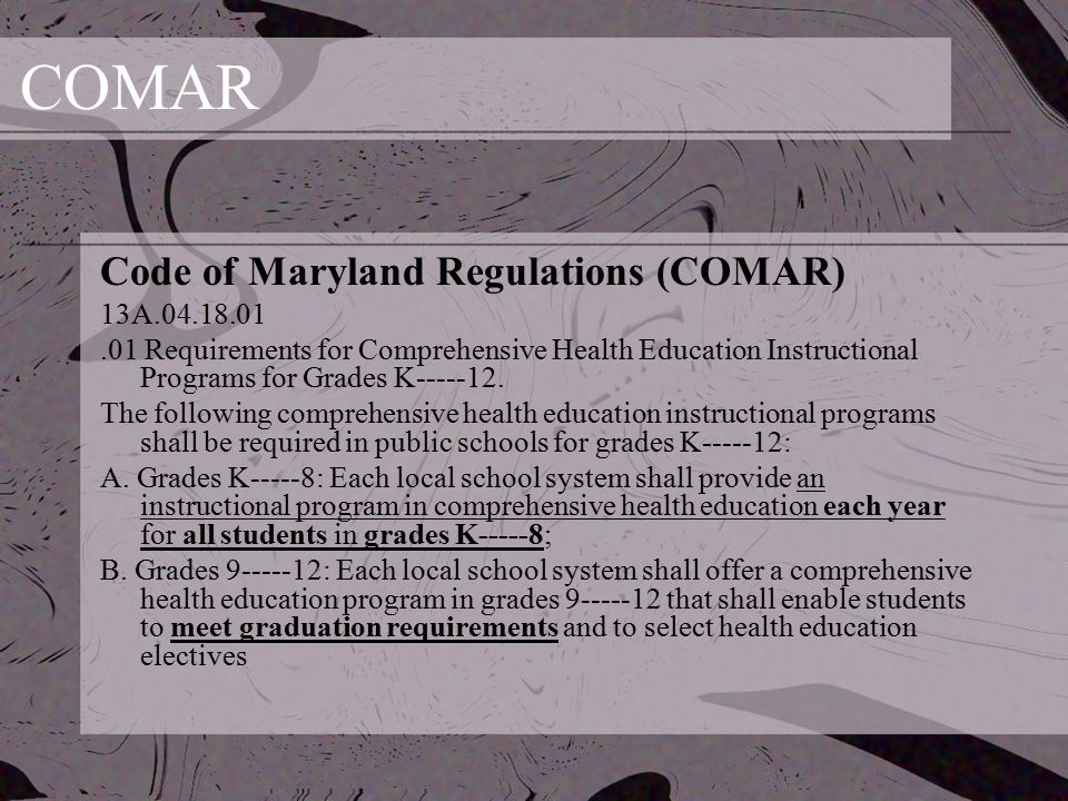 COMAR Code of Maryland Regulations (COMAR) 13A.04.18.01.01 Requirements for Comprehensive Health Education Instructional Programs for Grades K-----12.