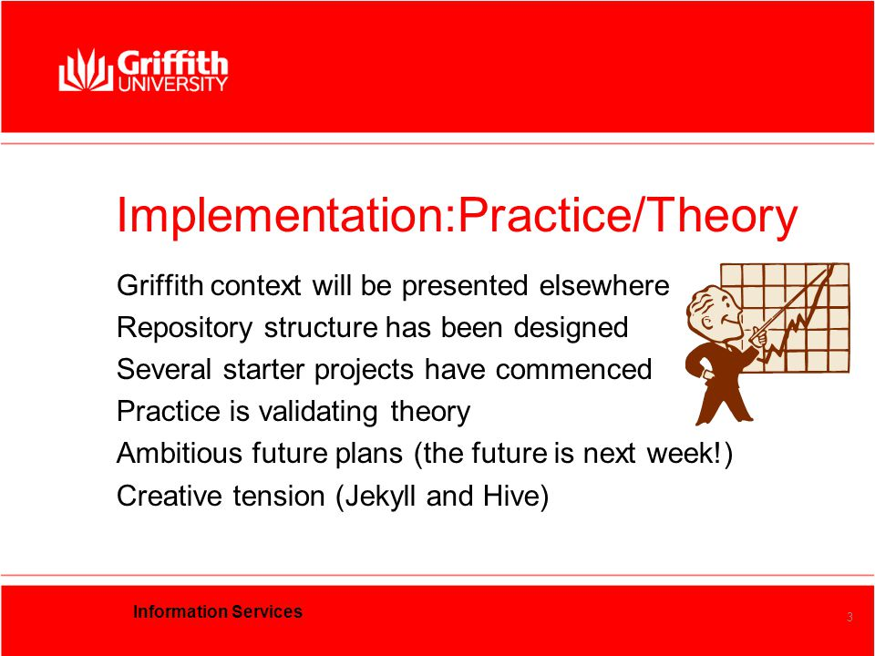 Information Services 3 Implementation:Practice/Theory Griffith context will be presented elsewhere Repository structure has been designed Several starter projects have commenced Practice is validating theory Ambitious future plans (the future is next week!) Creative tension (Jekyll and Hive)
