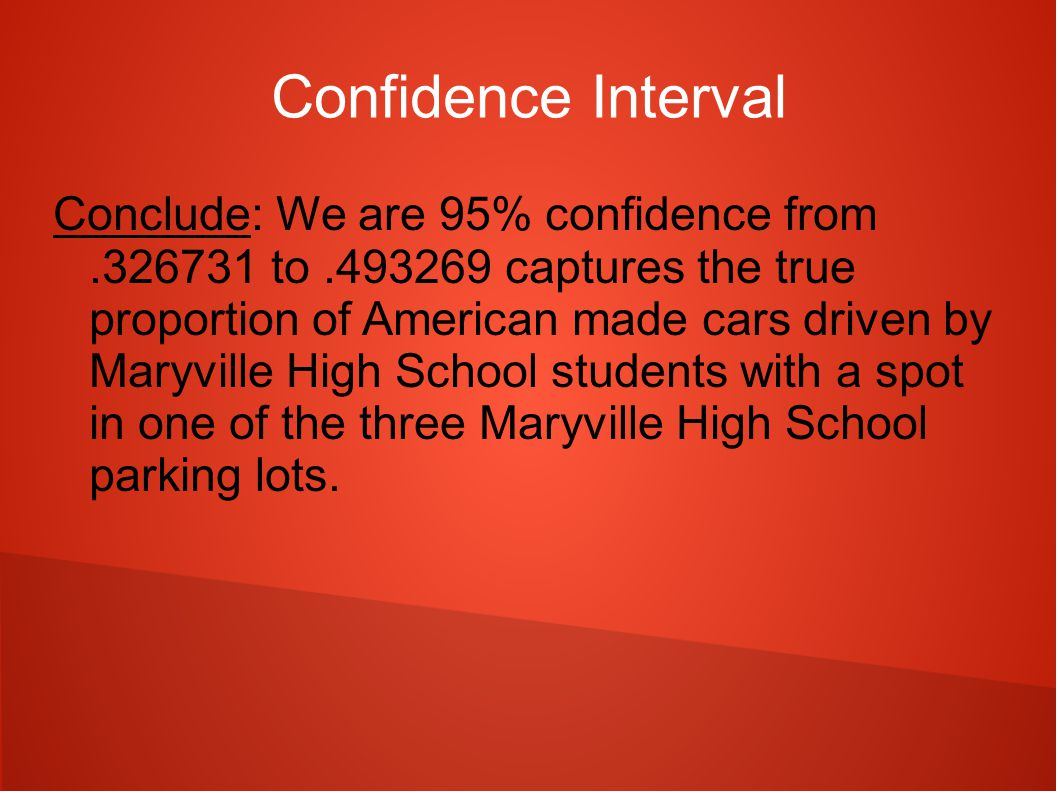 Confidence Interval Conclude: We are 95% confidence from.326731 to.493269 captures the true proportion of American made cars driven by Maryville High School students with a spot in one of the three Maryville High School parking lots.
