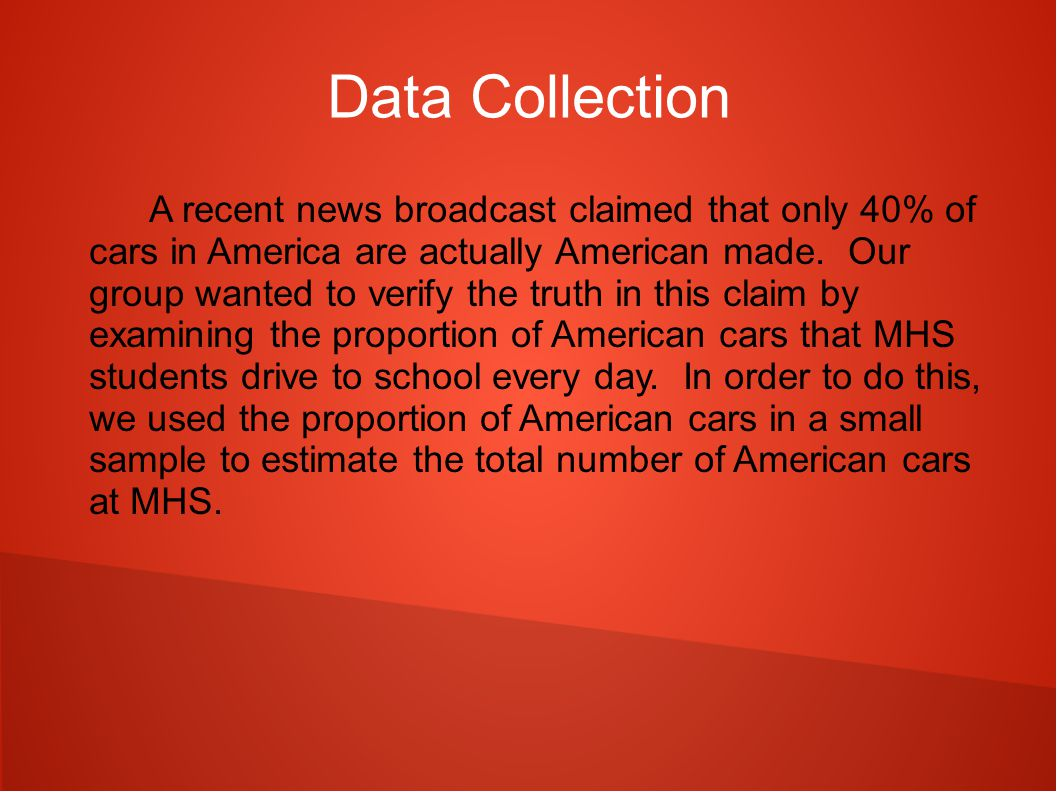Data Collection A recent news broadcast claimed that only 40% of cars in America are actually American made.