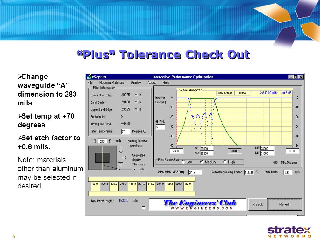 9 Plus Tolerance Check Out  Change waveguide A dimension to 283 mils  Set temp at +70 degrees  Set etch factor to +0.6 mils.