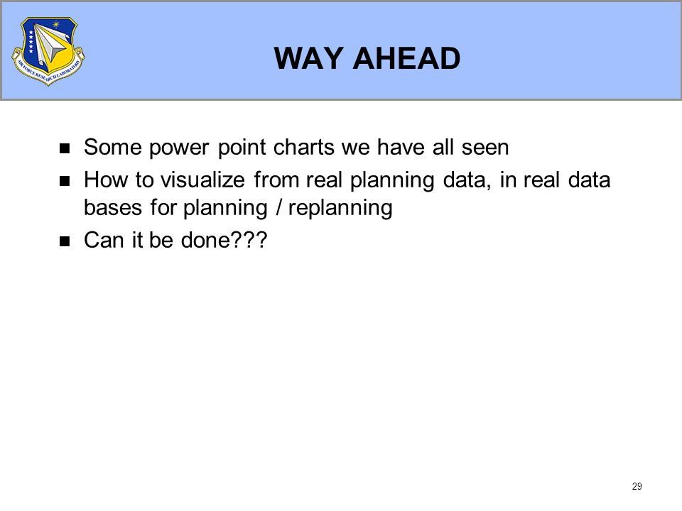 29 WAY AHEAD Some power point charts we have all seen How to visualize from real planning data, in real data bases for planning / replanning Can it be done???