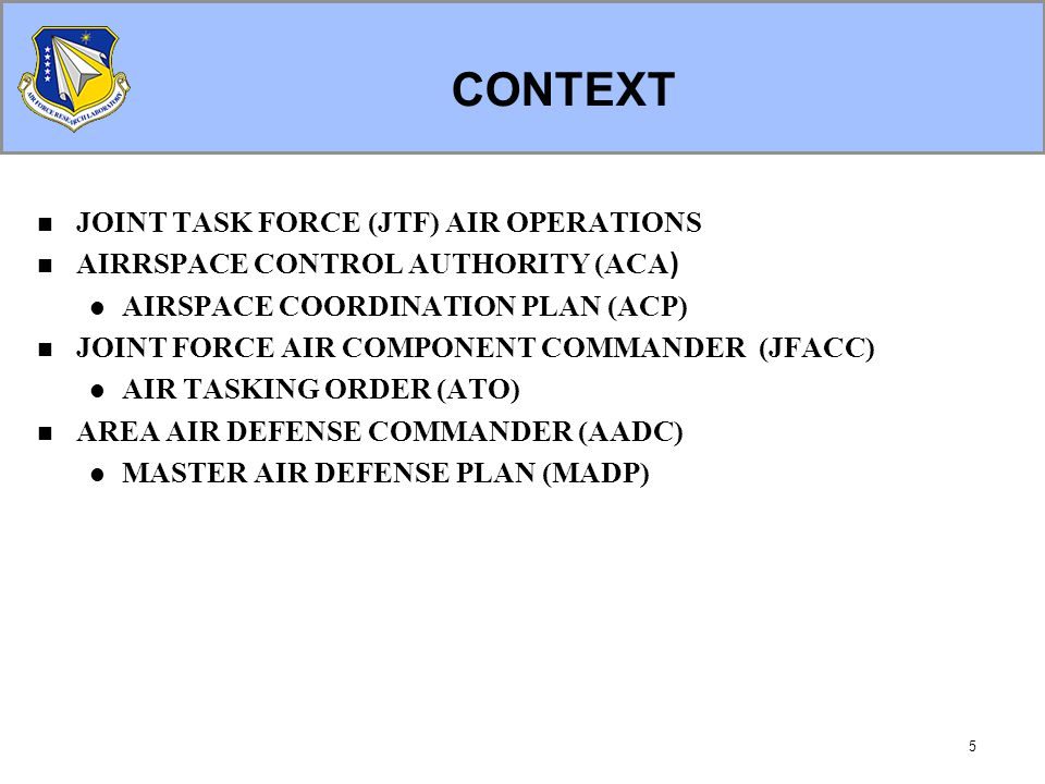 5 CONTEXT JOINT TASK FORCE (JTF) AIR OPERATIONS AIRRSPACE CONTROL AUTHORITY (ACA ) AIRSPACE COORDINATION PLAN (ACP) JOINT FORCE AIR COMPONENT COMMANDER (JFACC) AIR TASKING ORDER (ATO) AREA AIR DEFENSE COMMANDER (AADC) MASTER AIR DEFENSE PLAN (MADP)