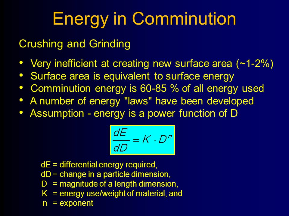 Energy in Comminution Crushing and Grinding Very inefficient at creating new surface area (~1-2%) Surface area is equivalent to surface energy Comminu