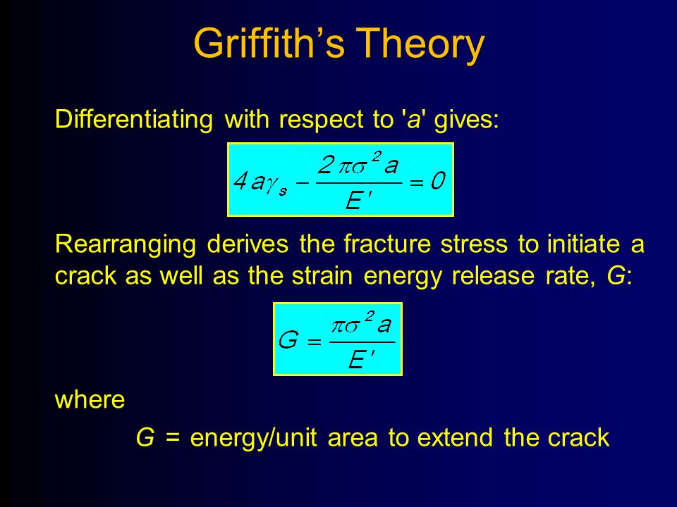 Griffith's Theory Differentiating with respect to 'a' gives: Rearranging derives the fracture stress to initiate a crack as well as the strain energy