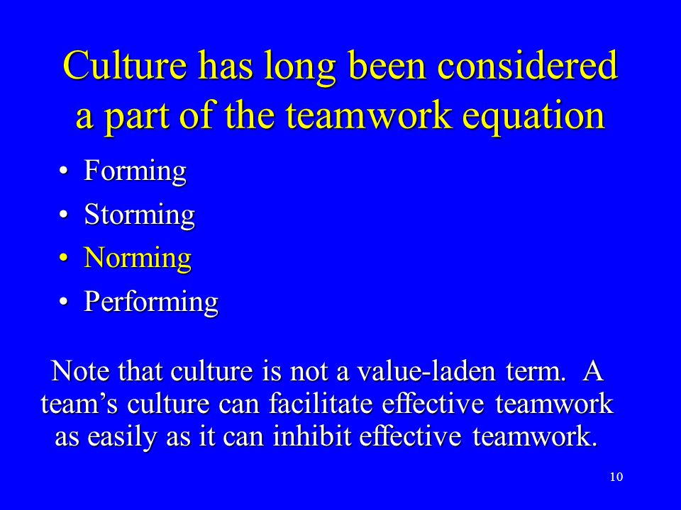 10 Culture has long been considered a part of the teamwork equation FormingForming StormingStorming NormingNorming PerformingPerforming Note that cult