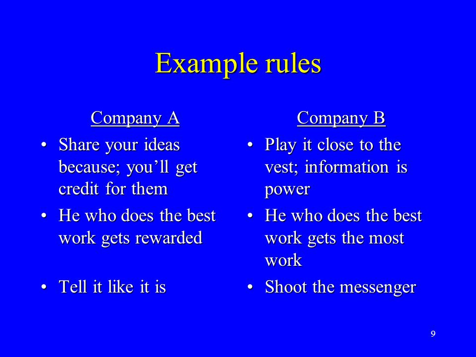 9 Example rules Company A Share your ideas because; you'll get credit for themShare your ideas because; you'll get credit for them He who does the bes