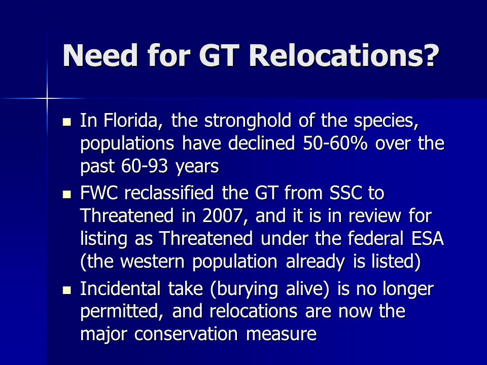 Need for GT Relocations.