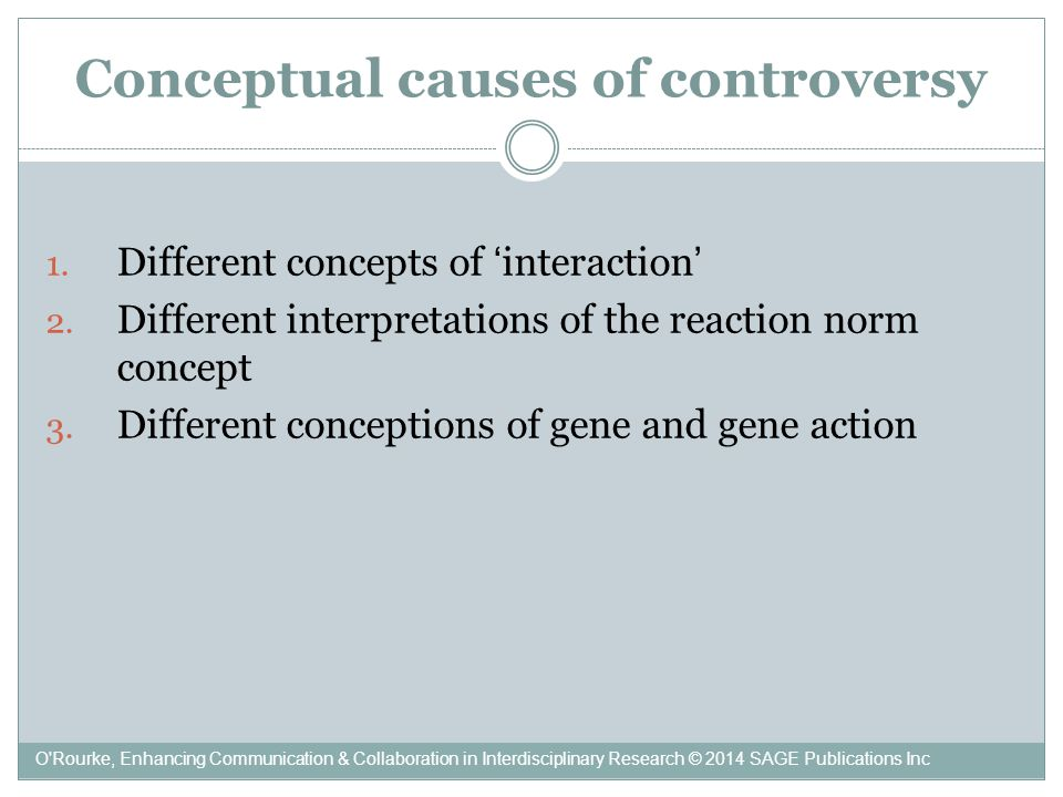 Conceptual causes of controversy 1. Different concepts of 'interaction' 2.