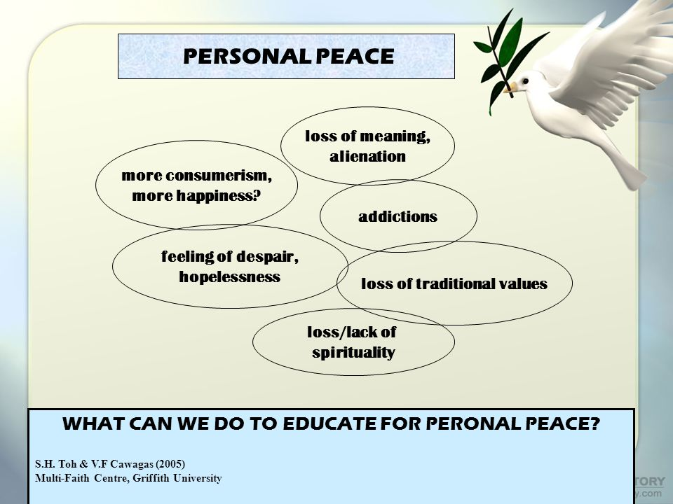PERSONAL PEACE WHAT CAN WE DO TO EDUCATE FOR PERONAL PEACE.