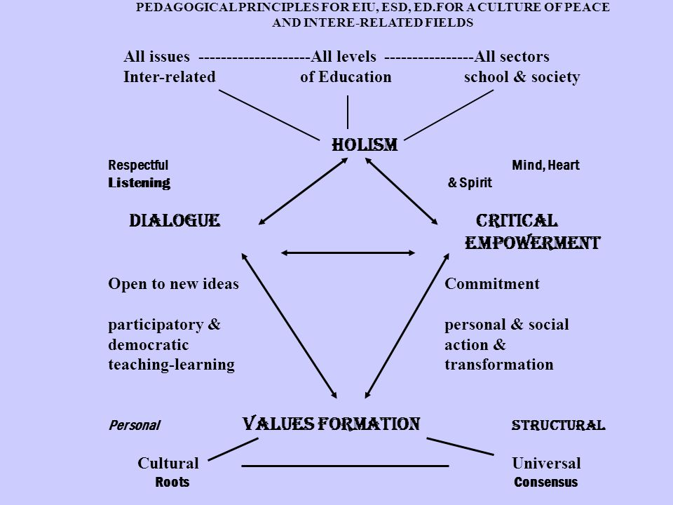 PEDAGOGICAL PRINCIPLES FOR EIU, ESD, ED.FOR A CULTURE OF PEACE AND INTERE-RELATED FIELDS All issues --------------------All levels ----------------All sectors Inter-related of Education school & society HOLISM Respectful Mind, Heart Listening & Spirit DIALOGUE CRITICAL EMPOWERMENT Open to new ideas Commitment participatory & personal & social democraticaction & teaching-learningtransformation Personal VALUES FORMATION Structural CulturalUniversal Roots Consensus