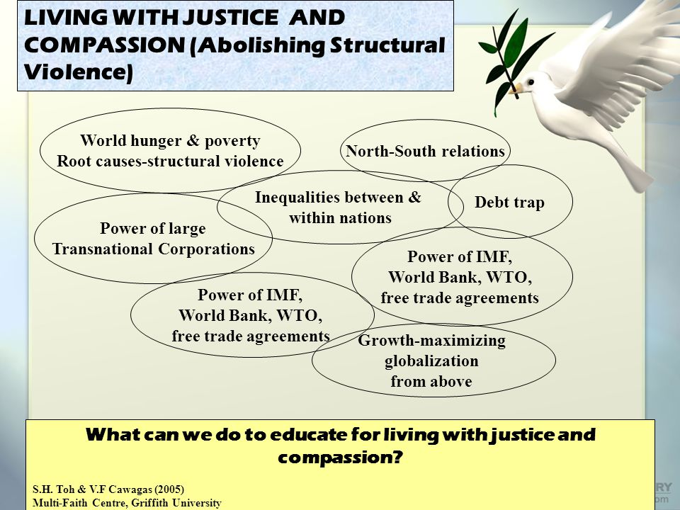LIVING WITH JUSTICE AND COMPASSION (Abolishing Structural Violence) World hunger & poverty Root causes-structural violence North-South relations Inequalities between & within nations Power of large Transnational Corporations Debt trap Power of IMF, World Bank, WTO, free trade agreements What can we do to educate for living with justice and compassion.