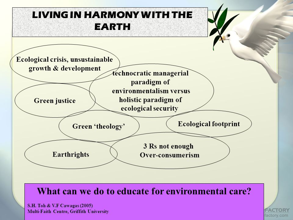 LIVING IN HARMONY WITH THE EARTH What can we do to educate for environmental care.