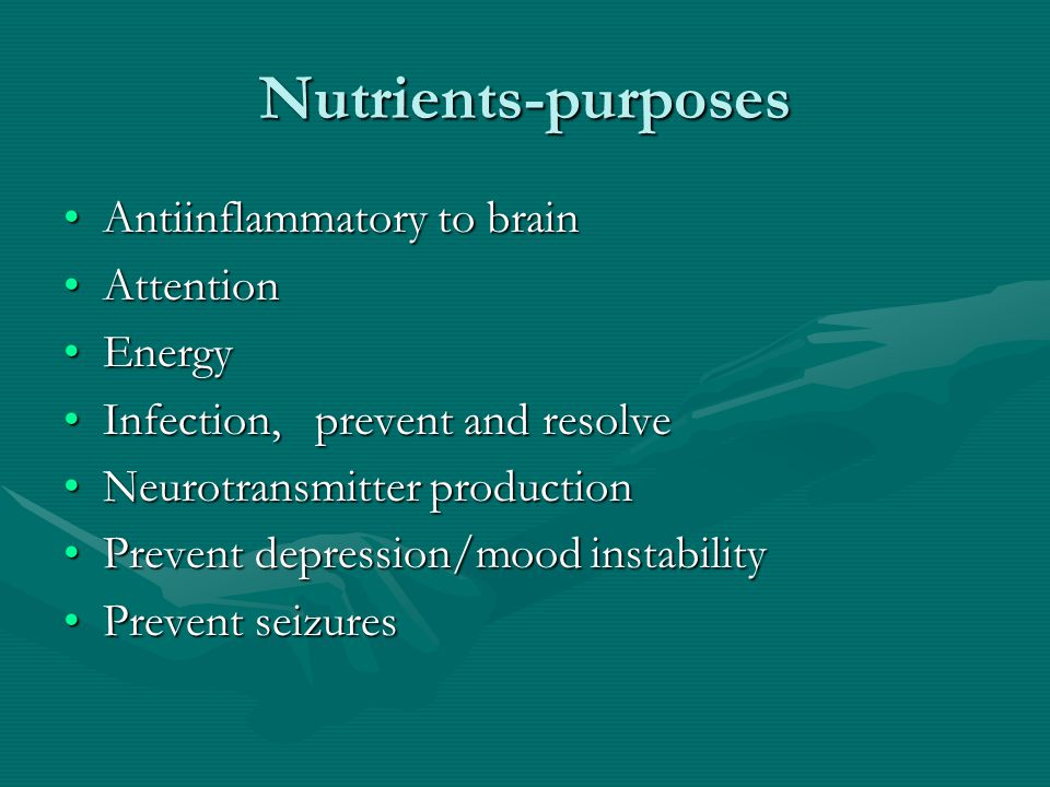 Nutrients-purposes Antiinflammatory to brainAntiinflammatory to brain AttentionAttention EnergyEnergy Infection, prevent and resolveInfection, prevent