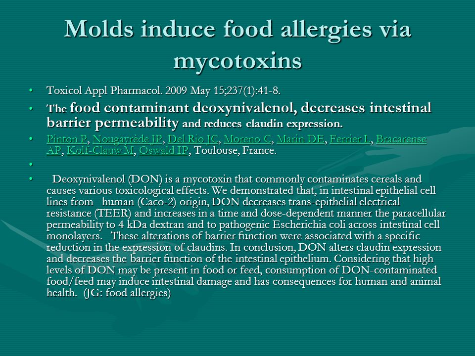 Molds induce food allergies via mycotoxins Toxicol Appl Pharmacol. 2009 May 15;237(1):41-8.Toxicol Appl Pharmacol. 2009 May 15;237(1):41-8. The food c