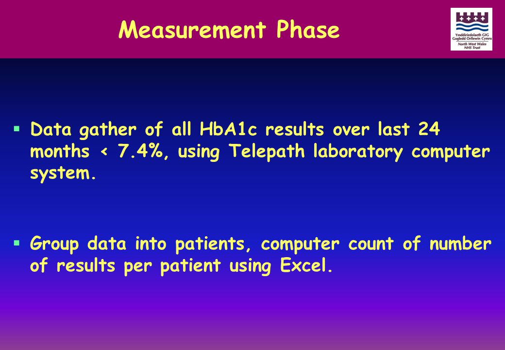 Measurement Phase  Data gather of all HbA1c results over last 24 months < 7.4%, using Telepath laboratory computer system.