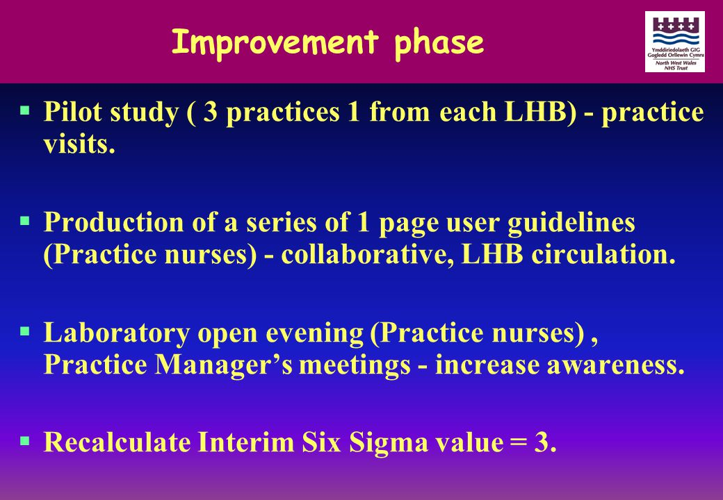 Improvement phase  Pilot study ( 3 practices 1 from each LHB) - practice visits.  Production of a series of 1 page user guidelines (Practice nurses)