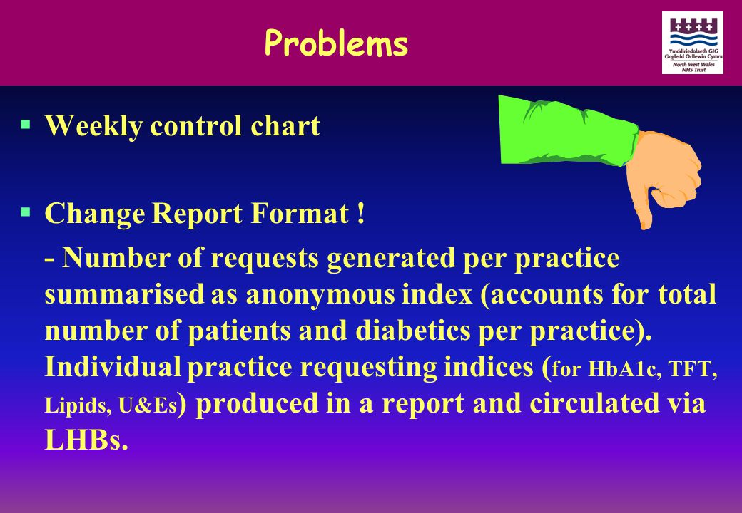 Problems  Weekly control chart  Change Report Format ! - Number of requests generated per practice summarised as anonymous index (accounts for total