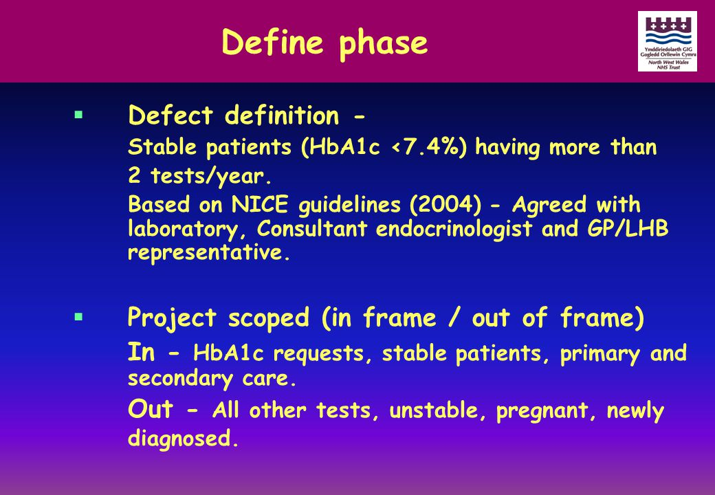 Define phase  Defect definition - Stable patients (HbA1c <7.4%) having more than 2 tests/year. Based on NICE guidelines (2004) - Agreed with laborato