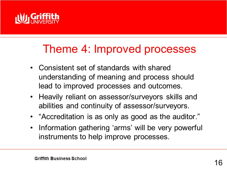 Griffith Business School Theme 4: Improved processes Consistent set of standards with shared understanding of meaning and process should lead to improved processes and outcomes.