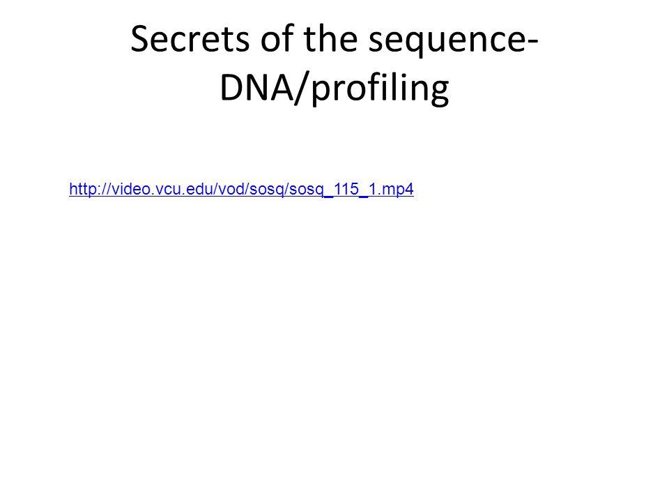 Secrets of the sequence- DNA/profiling http://video.vcu.edu/vod/sosq/sosq_115_1.mp4