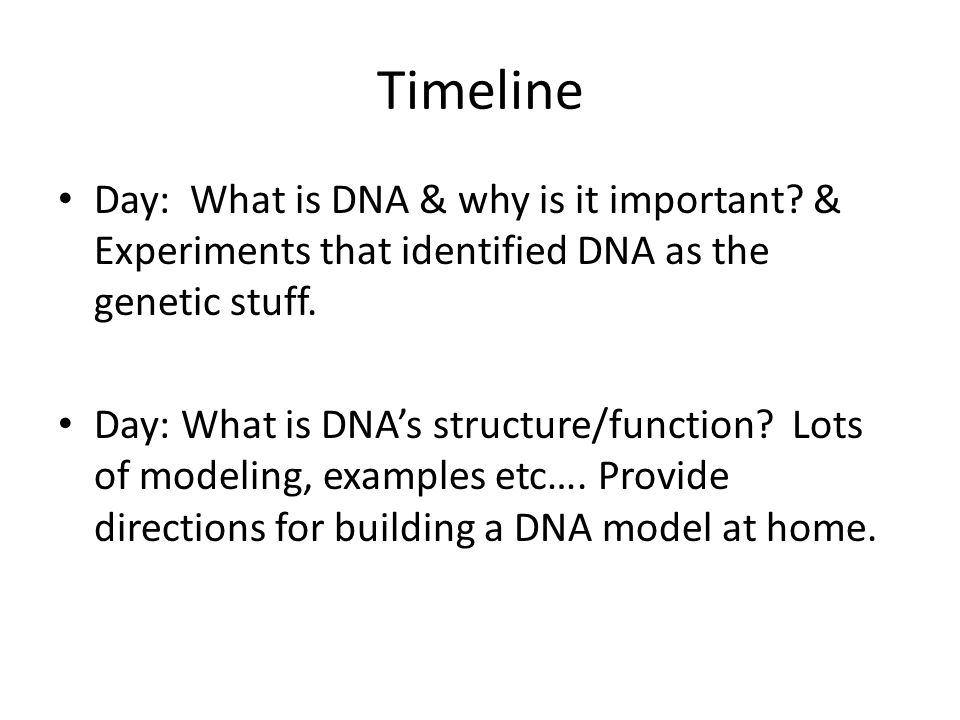 Timeline Day: What is DNA & why is it important.