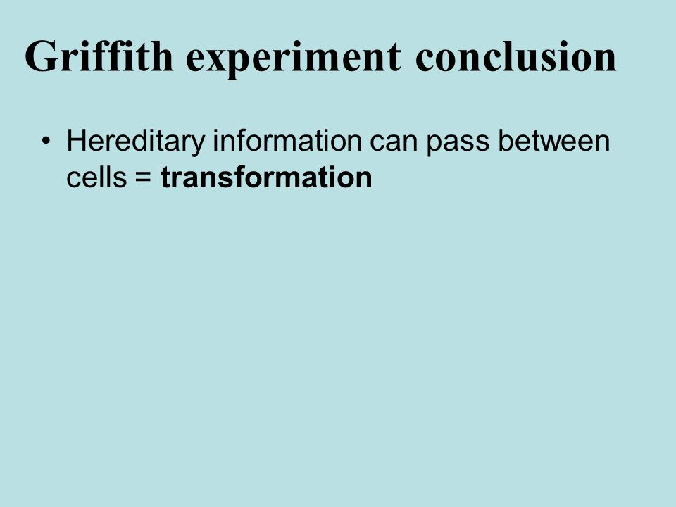 Hereditary information can pass between cells = transformation Griffith experiment conclusion