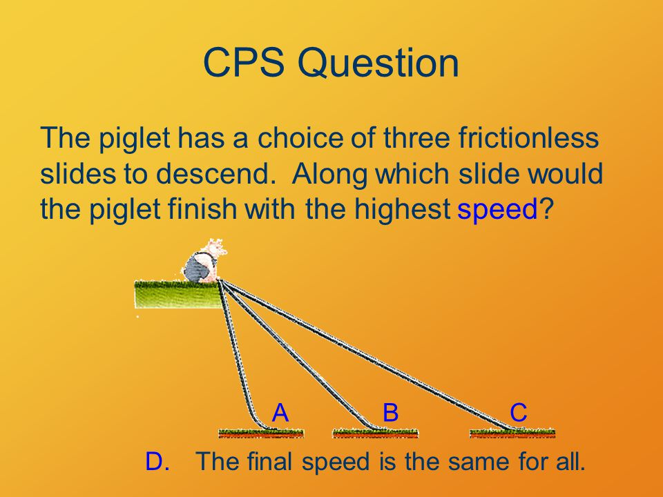 The piglet has a choice of three frictionless slides to descend. Along which slide would the piglet finish with the highest speed? ABC D.The final spe