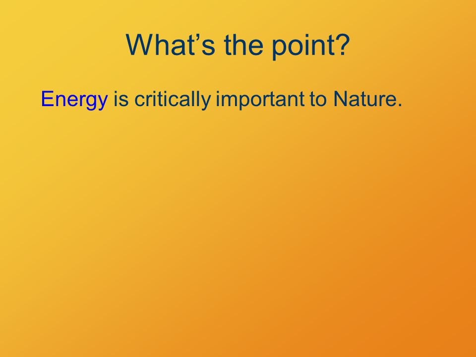 What's the point? Energy is critically important to Nature.
