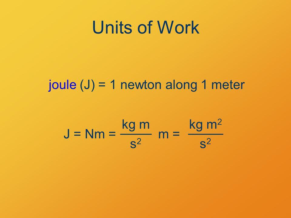 Units of Work J = Nm = kg m m = s2s2 kg m 2 s2s2 joule (J) = 1 newton along 1 meter
