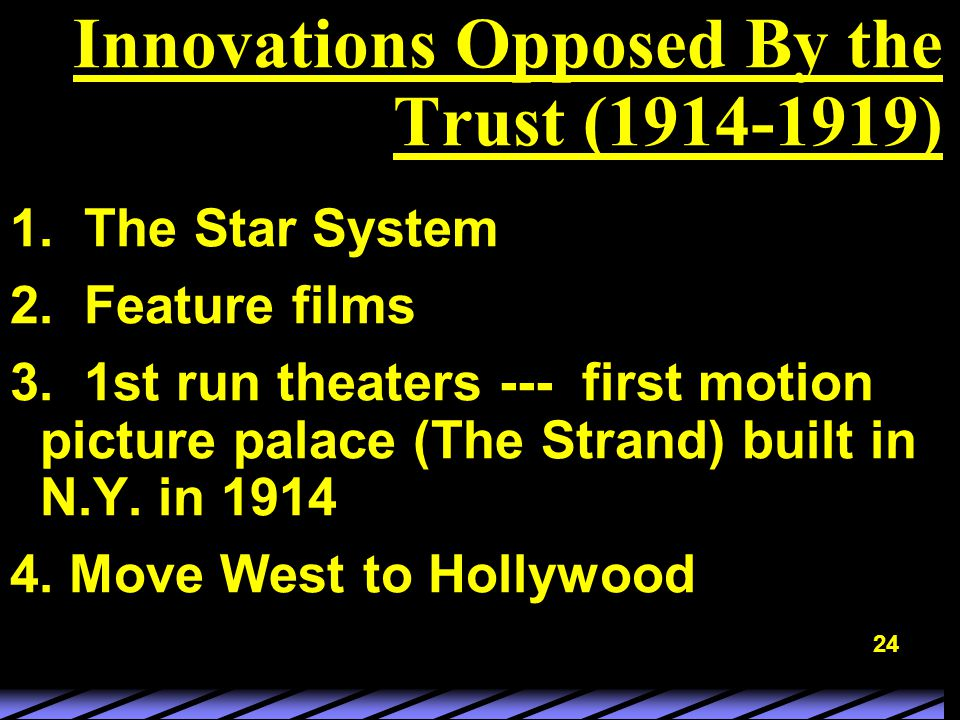 24 Innovations Opposed By the Trust (1914-1919) 1.
