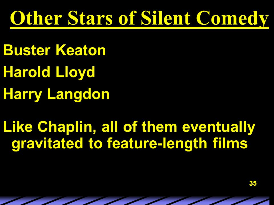 35 Other Stars of Silent Comedy Buster Keaton Harold Lloyd Harry Langdon Like Chaplin, all of them eventually gravitated to feature-length films