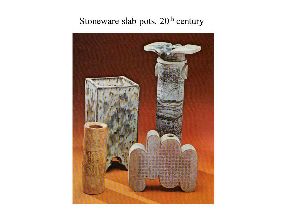 Stoneware slab pots. 20 th century