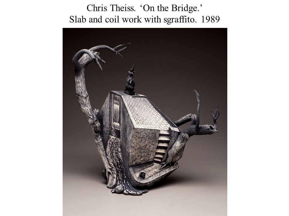 Chris Theiss. 'On the Bridge.' Slab and coil work with sgraffito. 1989