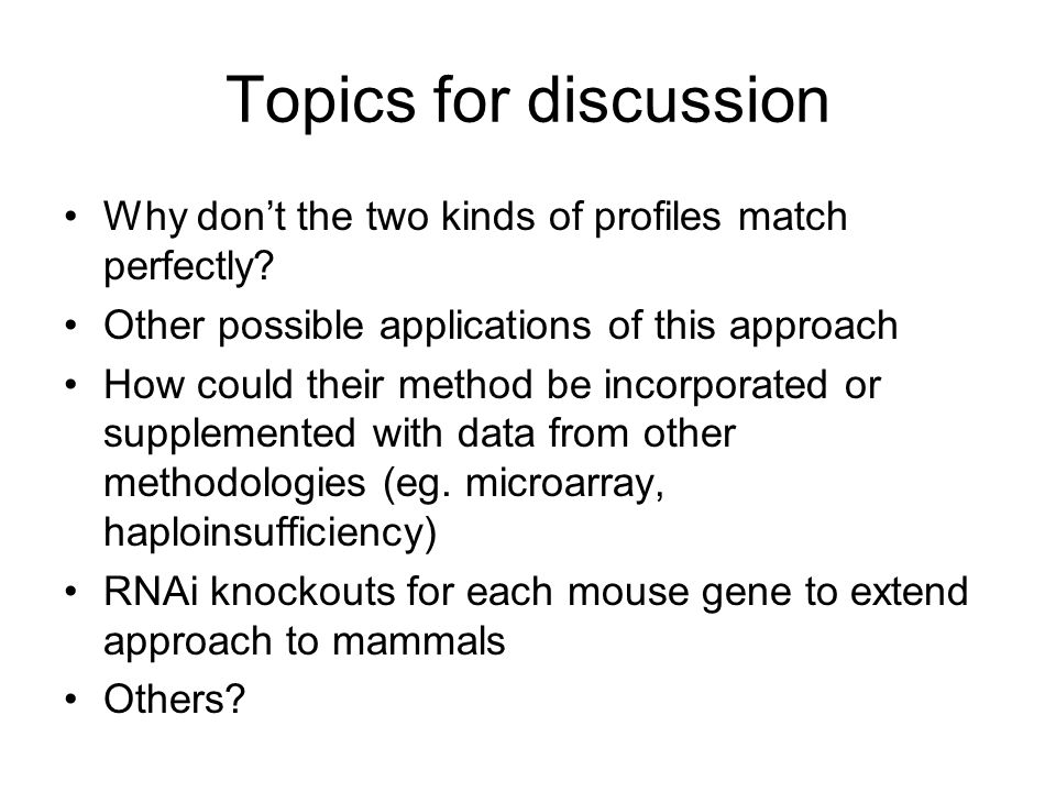 Topics for discussion Why don't the two kinds of profiles match perfectly.