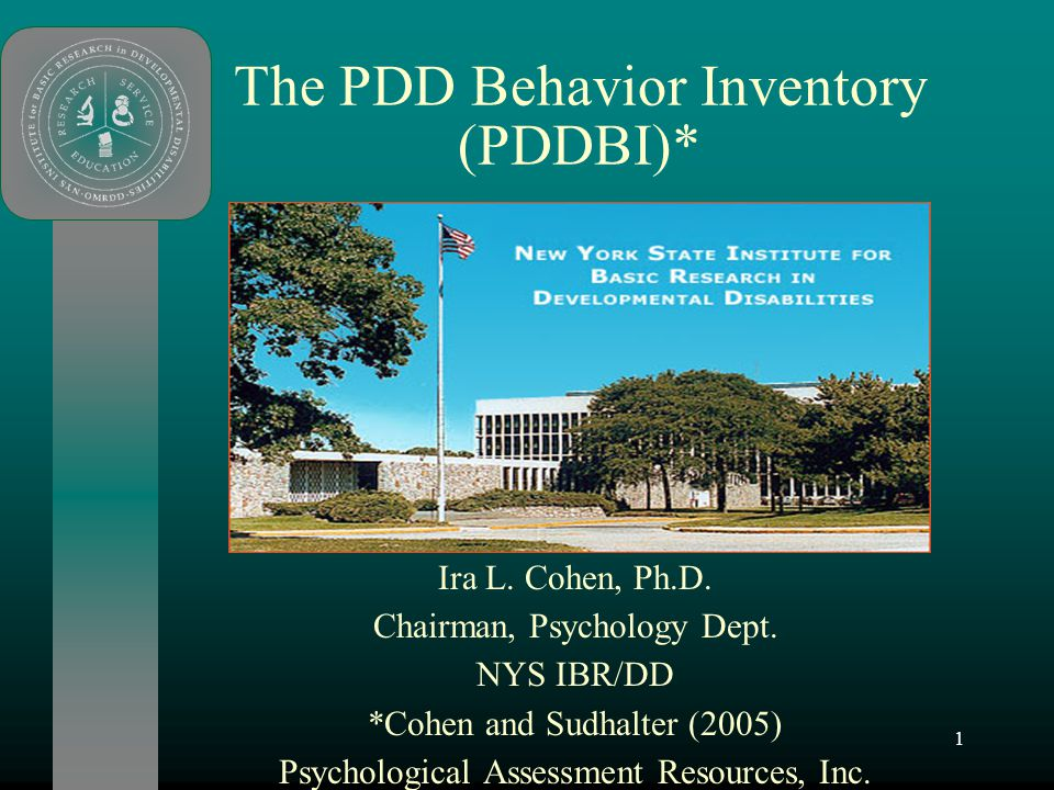 1 The PDD Behavior Inventory (PDDBI)* Ira L. Cohen, Ph.D. Chairman, Psychology Dept. NYS IBR/DD *Cohen and Sudhalter (2005) Psychological Assessment R