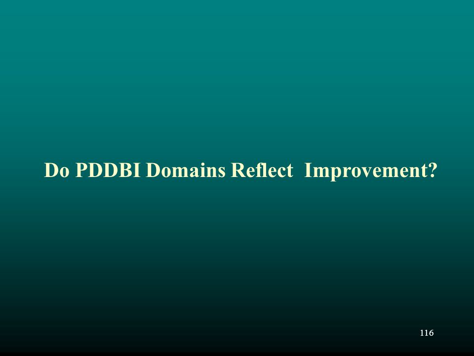 116 Do PDDBI Domains Reflect Improvement?