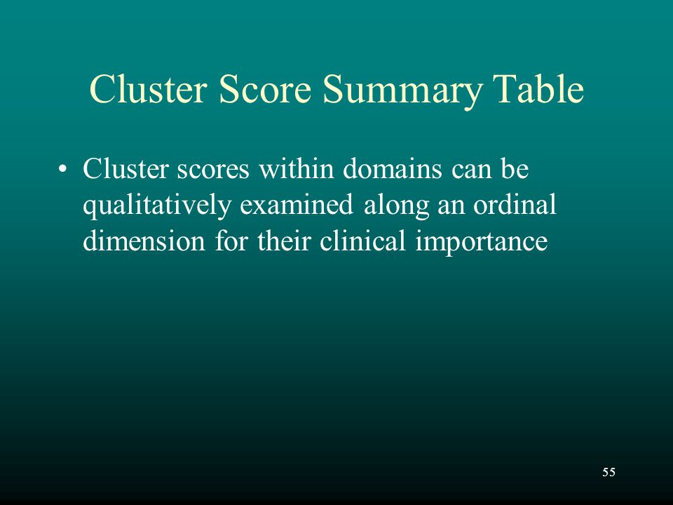 55 Cluster Score Summary Table Cluster scores within domains can be qualitatively examined along an ordinal dimension for their clinical importance