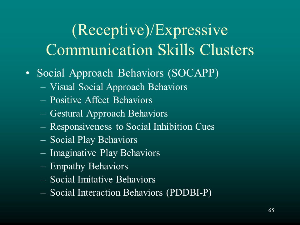 65 (Receptive)/Expressive Communication Skills Clusters Social Approach Behaviors (SOCAPP) –Visual Social Approach Behaviors –Positive Affect Behavior