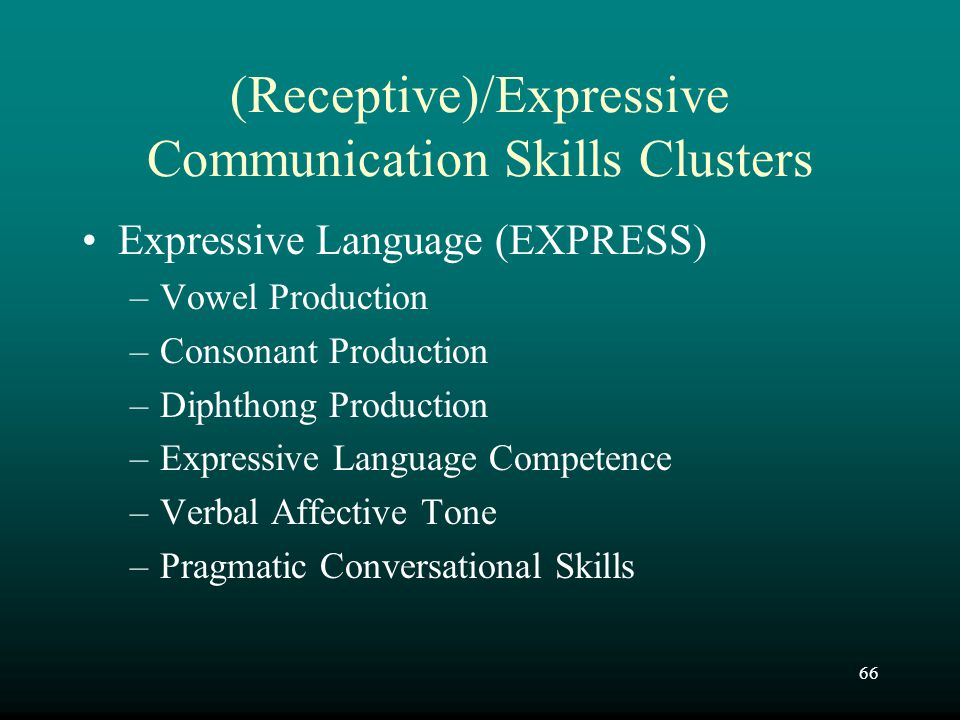 66 (Receptive)/Expressive Communication Skills Clusters Expressive Language (EXPRESS) –Vowel Production –Consonant Production –Diphthong Production –E