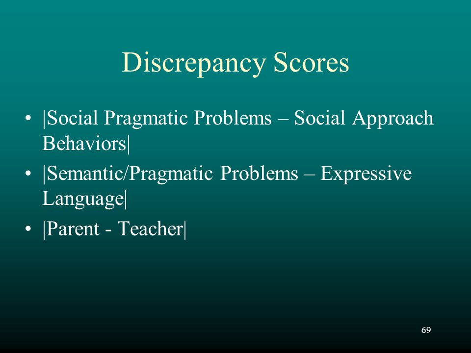 69 Discrepancy Scores  Social Pragmatic Problems – Social Approach Behaviors   Semantic/Pragmatic Problems – Expressive Language   Parent - Teach