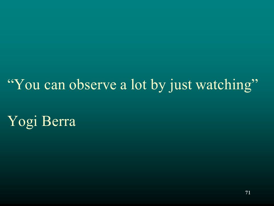 "71 ""You can observe a lot by just watching"" Yogi Berra"