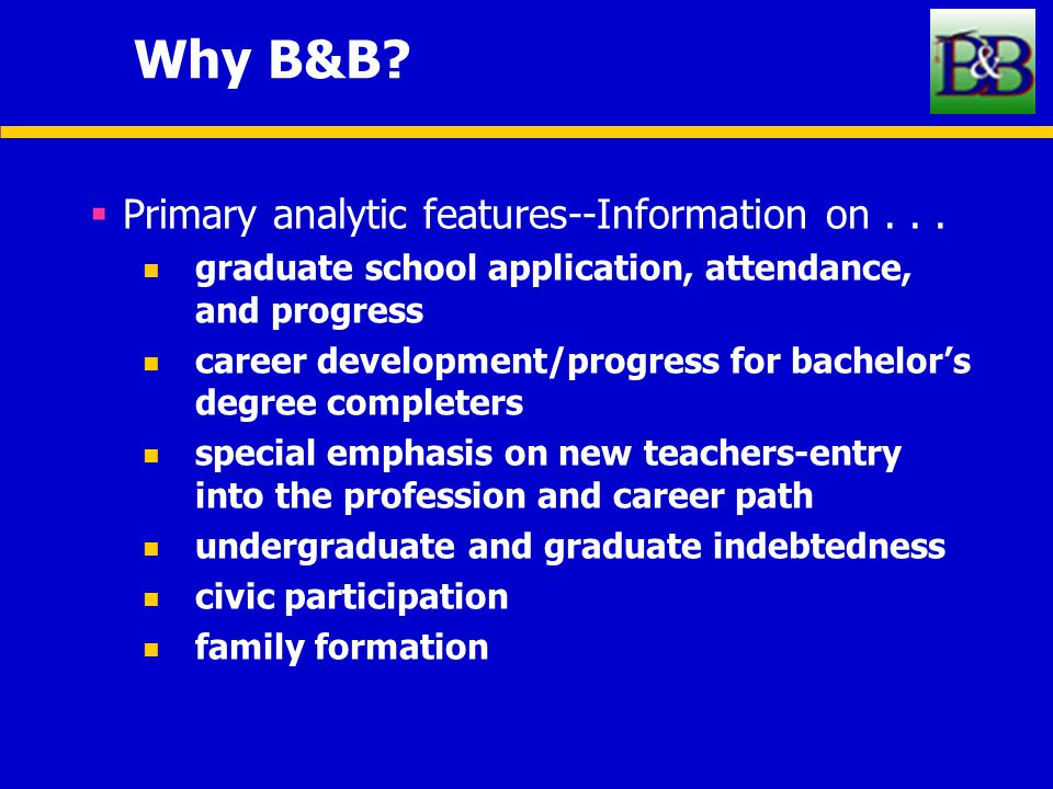 Why B&B. Primary analytic features--Information on...