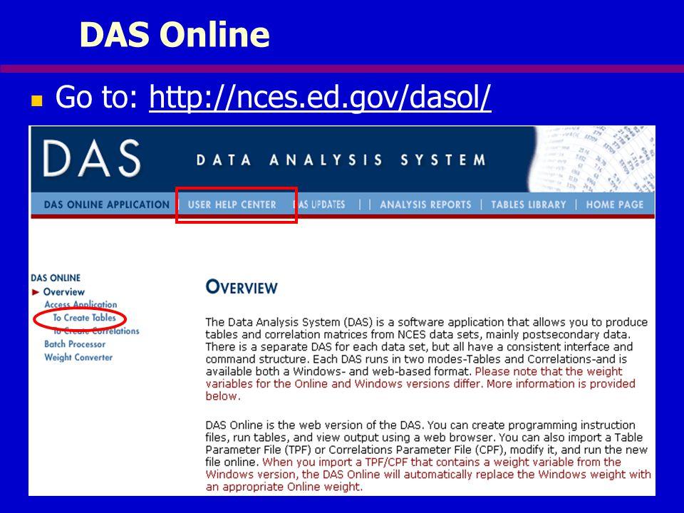 DAS Online Go to: http://nces.ed.gov/dasol/
