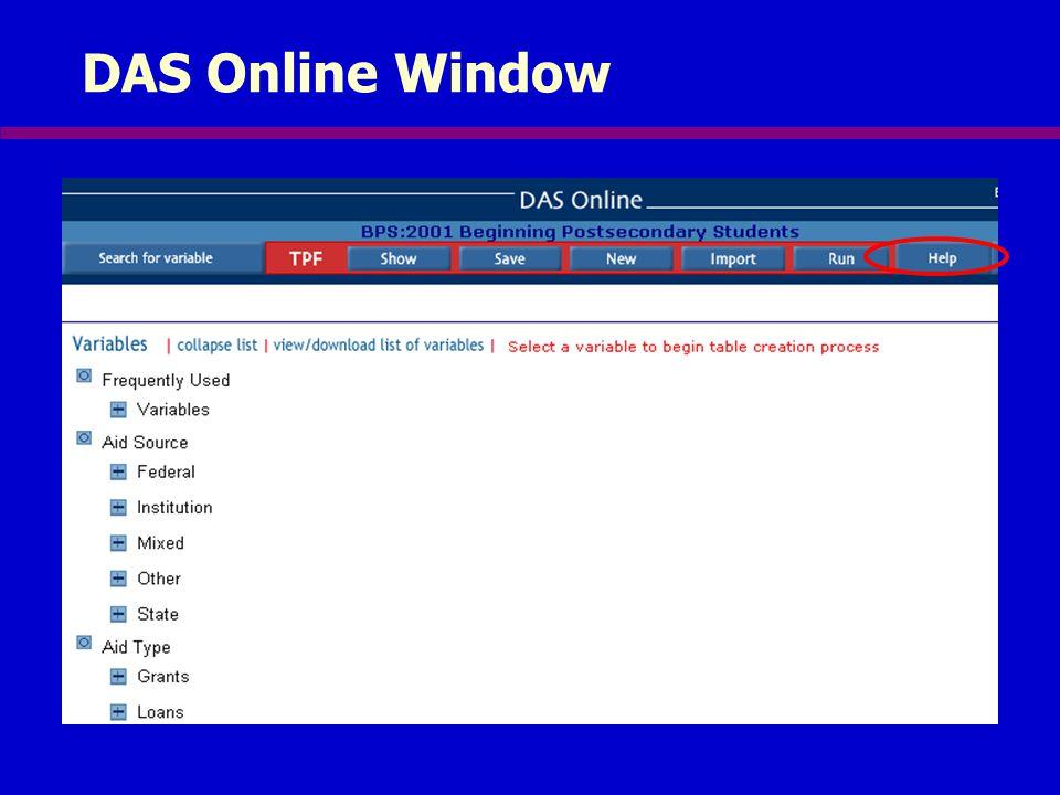DAS Online Window