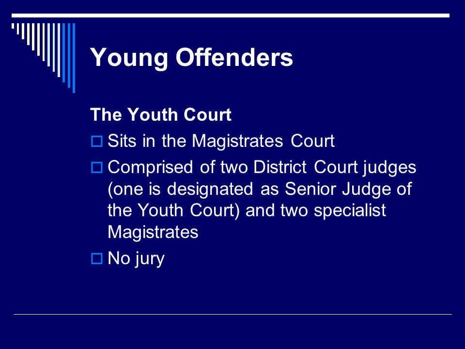 Young Offenders The Youth Court  Sits in the Magistrates Court  Comprised of two District Court judges (one is designated as Senior Judge of the Youth Court) and two specialist Magistrates  No jury