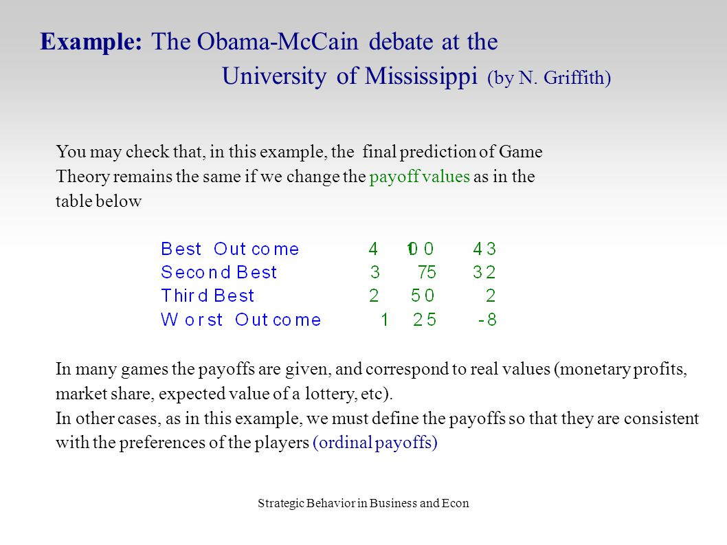 Strategic Behavior in Business and Econ Example: The Obama-McCain debate at the University of Mississippi (by N. Griffith) You may check that, in this