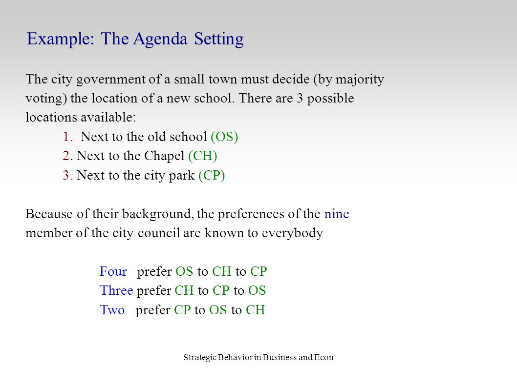 Strategic Behavior in Business and Econ Example: The Agenda Setting The city government of a small town must decide (by majority voting) the location of a new school.